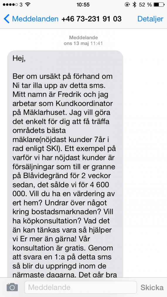 SMS från Mäklarhuset